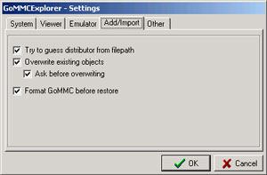 Settings - Add/import